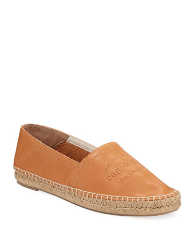 Edie Leather Logo Slip-On Espadrilles