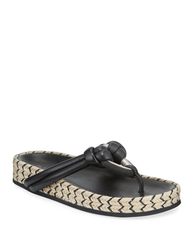 Eva Leather Jute-Flatform Thong Sandals