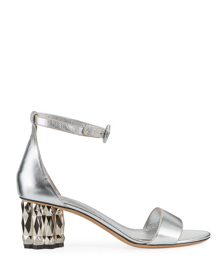 Azalea Metallic-Heel Leather Sandals