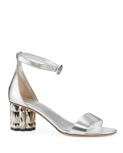 Azalea Metallic-Heel Leather Sandals