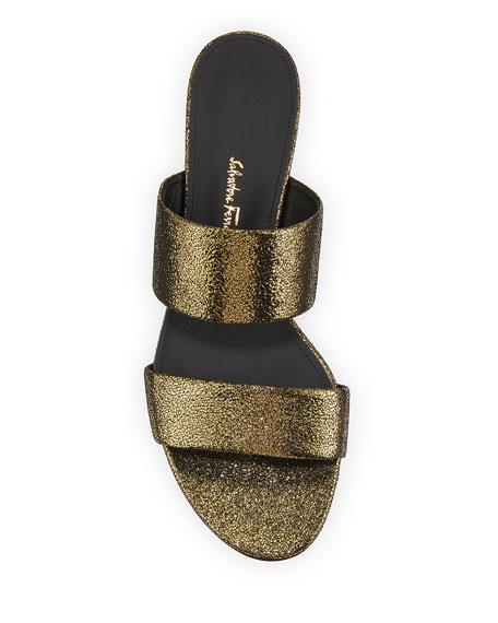 Belluno Metallic Two-Band Slide Sandals