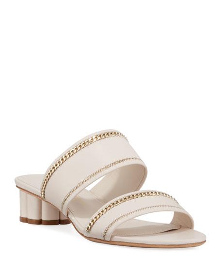 Belluno Lux Chain-Trim Slide Sandals