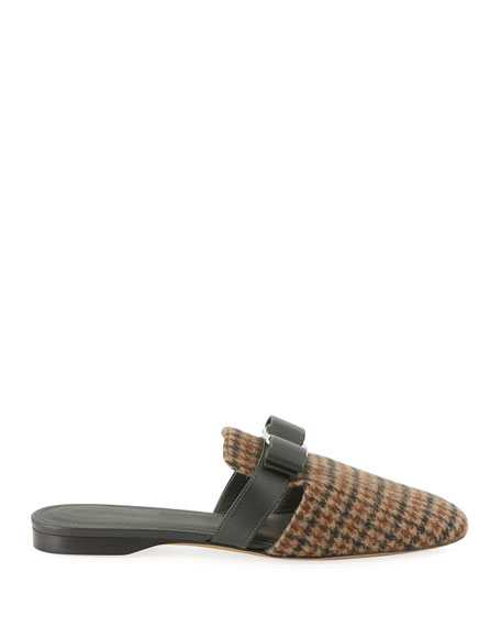 Briza Houndstooth Leather Bow Mules