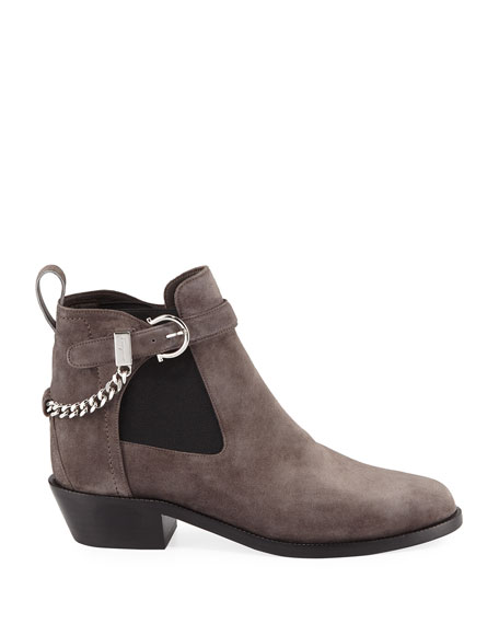 Ardisie Calf Suede Chain Booties