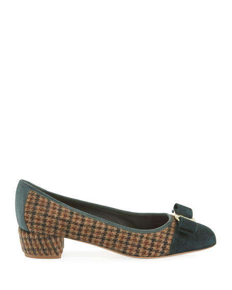 Vara Houndstooth Bow Pumps