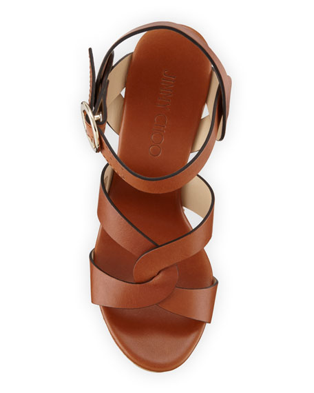 Aleili Leather Cork Wedge Sandals