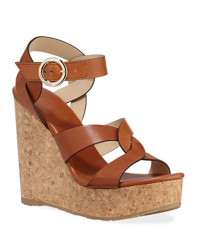 Aleili Leather Cork Wedge Sandals