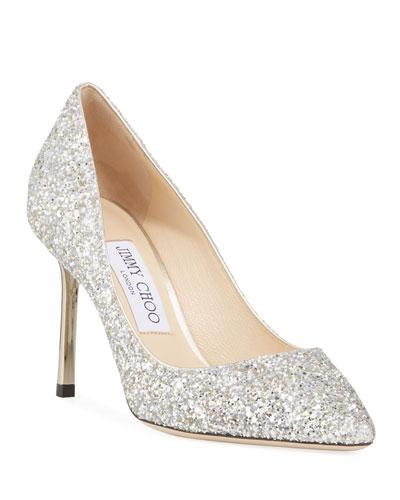 ab2ab83447 Romy Glittered Metallic-Heel Pumps Quick Look. Jimmy Choo