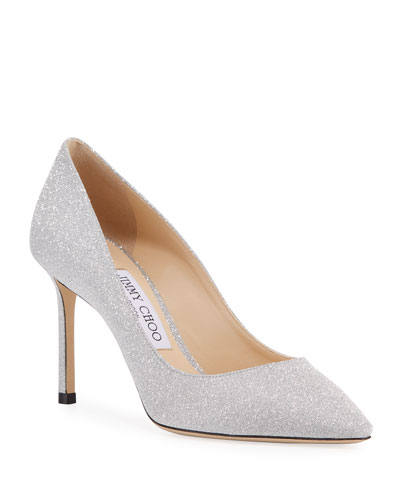 Romy Glittered Mid-Heel Pumps