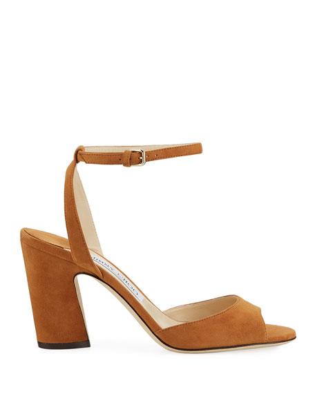 Miranda Suede Ankle-Strap Pumps
