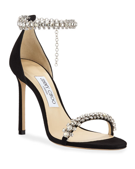 Jimmy Choo Shiloh High-Heel Crystal Anklet Sandals