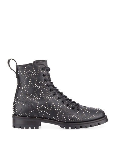Cruz Star-Studded Leather Boots