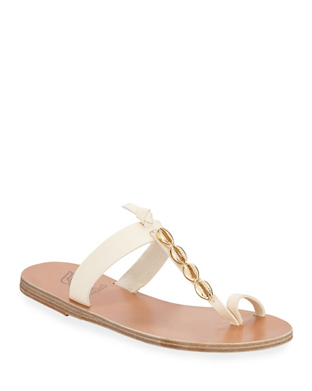 Iris Metallic Seashell Flat Sandals