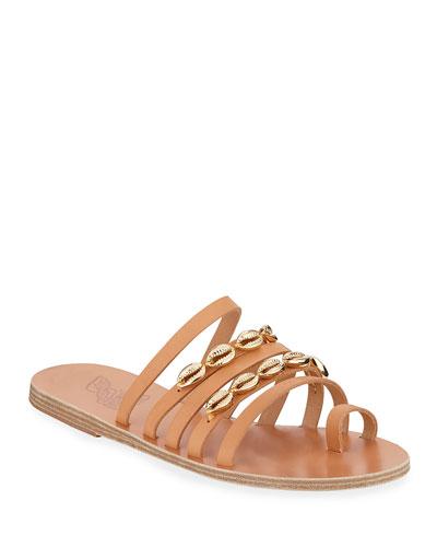 Niki Metallic Seashell Slide Sandals