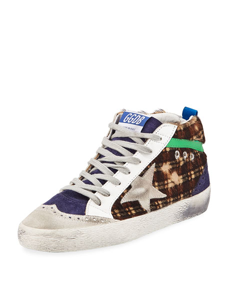Mid Star Plaid Calf Hair Mid-Top Sneakers