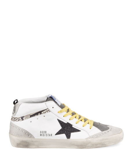 Mid Star Snake-Detailed Leather Sneakers