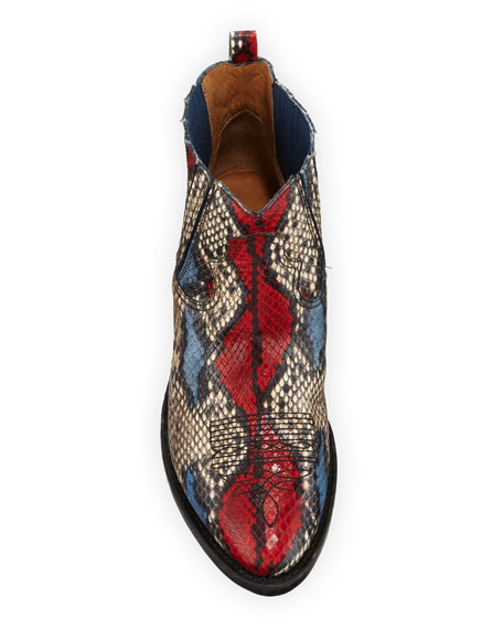 Crosby Snake-Print Western Ankle Boots