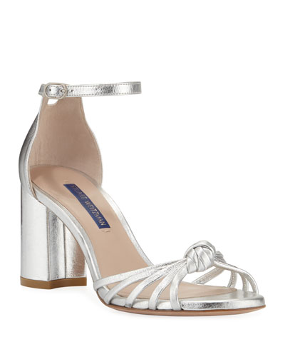 Sutton Metallic Block-Heel Sandals