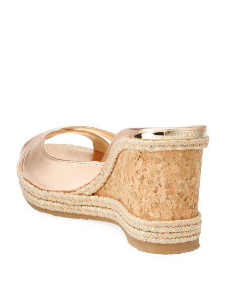 Almer Metallic Cork Wedge Sandals