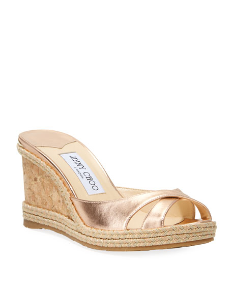 Jimmy Choo Almer Metallic Cork Wedge Sandals