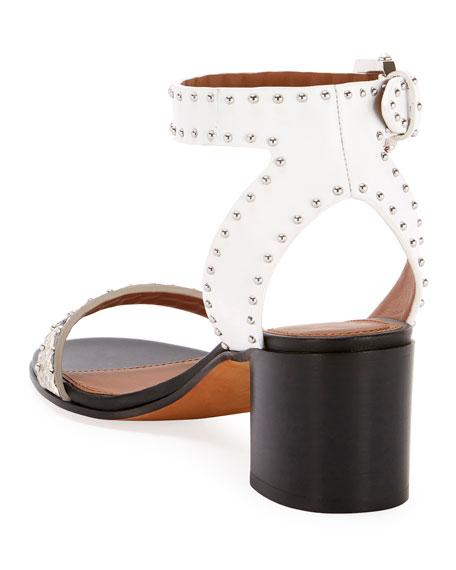 Elegant Snake-Print Studded Sandals