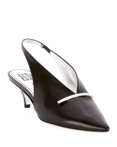 Bar Slingback Leather Pumps
