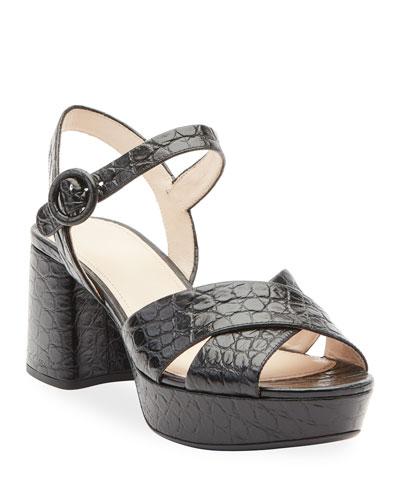 Crocodile-Print Crisscross Sandals
