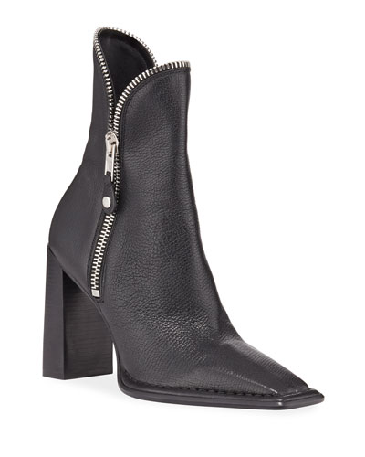 Lane Block-Heel Leather Zip Booties  Black