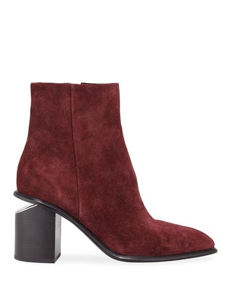 Anna Suede Block-Heel Ankle Booties