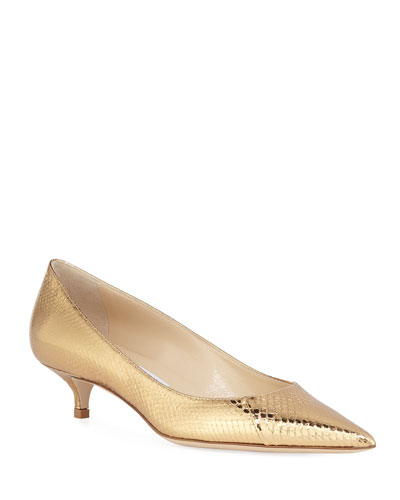 Amelia Snake-Embossed Metallic Pointed Pumps