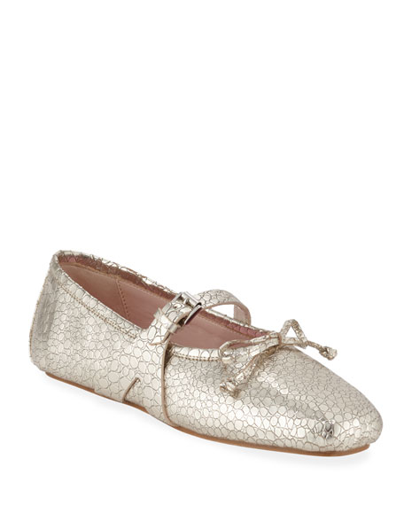 Giambattista Valli Metallic Leather Mary Jane Flats