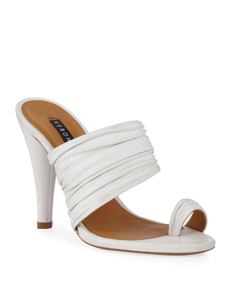 Orla Ruched Leather Toe-Ring Sandals