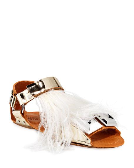Giambattista Valli Feathered Metallic Leather Flat Sandals