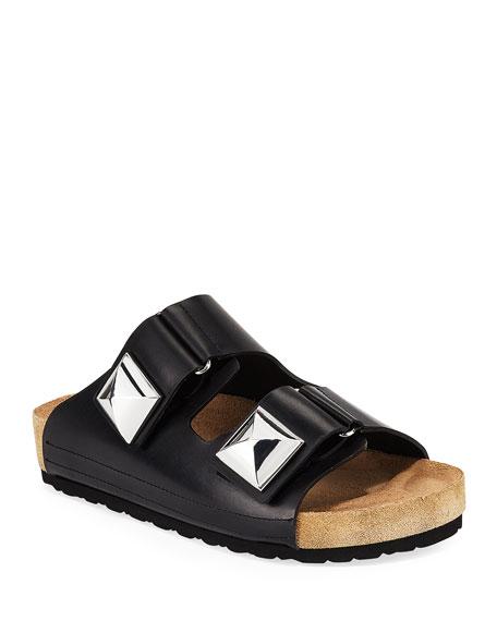 Giambattista Valli Leather Grip-Strap Flat Sandals, Black