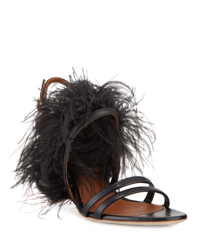 Strappy Leather Mid-Heel Feather Sandals