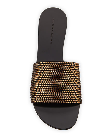 Crystal-Studded Flat Slide Sandals