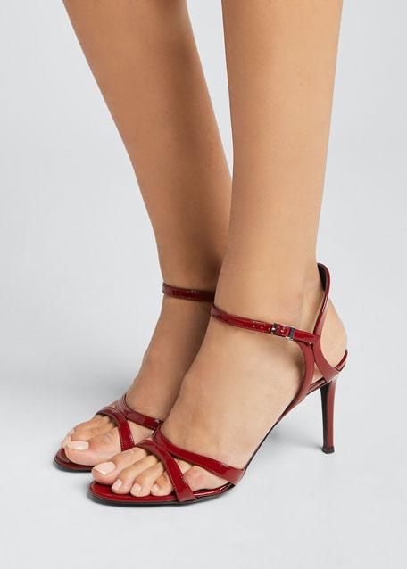 Strappy Patent Mid-Heel Sandals