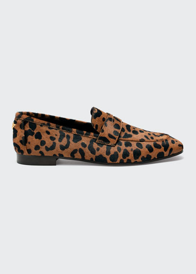 Leopard-Print Calf Hair Loafers