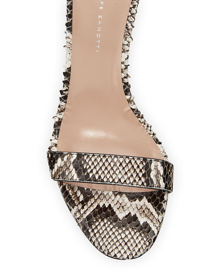 Snake-Print Leather Ankle-Strap Sandals