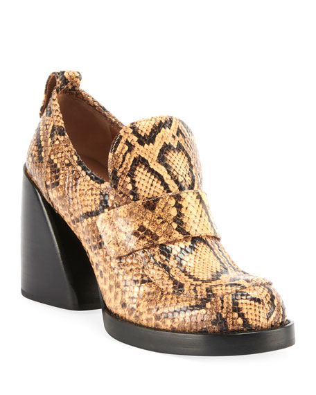 Adelie Python-Embossed Loafer Booties