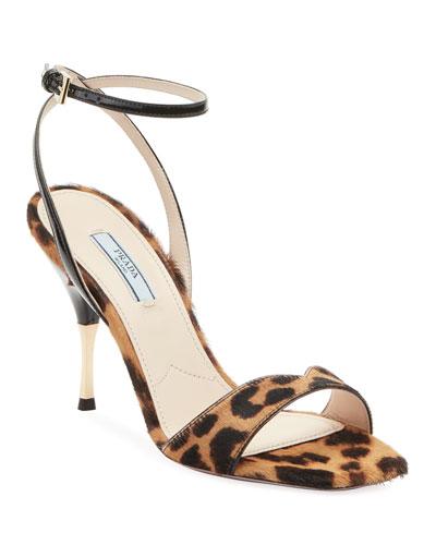 Leopard Calf Hair Sandals