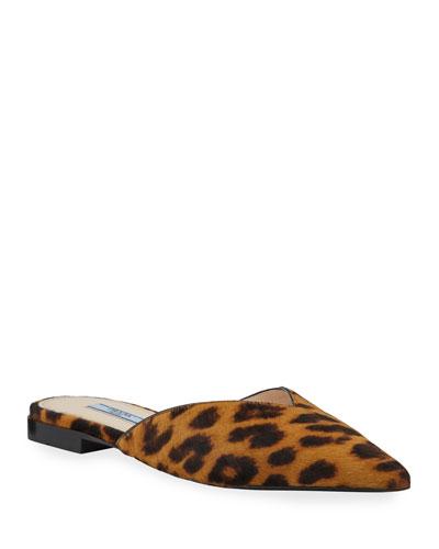 Cheetah-Print Flat Calf Hair Mules