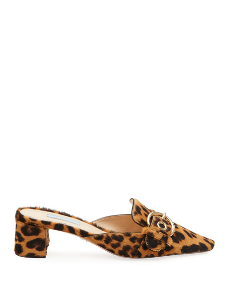 Cheetah-Print Calf Hair Slide Mules