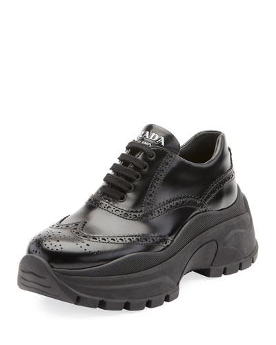 Leather Brogue Platform Sneakers
