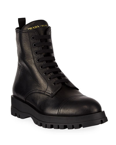 Deerskin Lug-Sole Lace-Up Boots