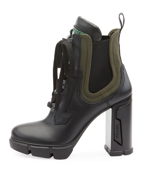 57ab843fcff Leather/Stretch Lace-Up Combat Booties