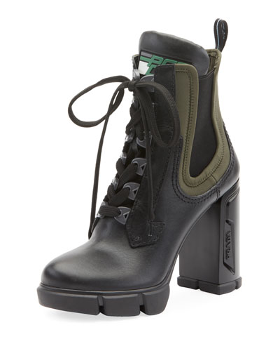 Leather/Stretch Lace-Up Combat Booties