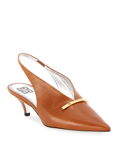 Leather Kitten-Heel Slingback Pumps with Golden Bar