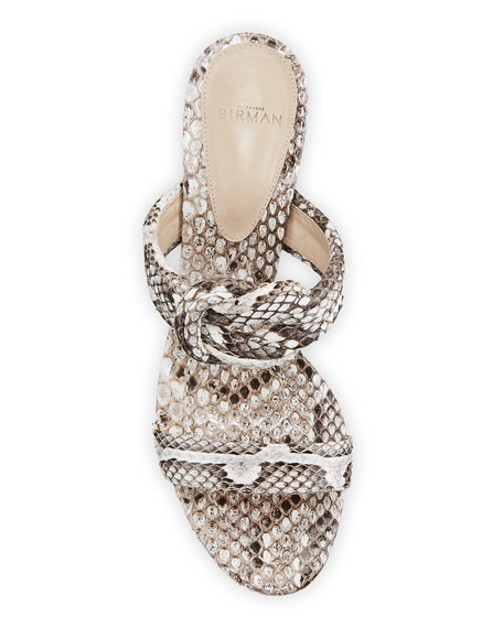 Vicky Python Knotted Block-Heel Sandals