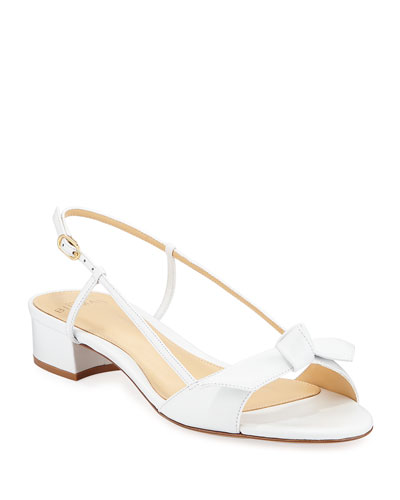 Clarita Slingback Low-Heel Bow Sandals